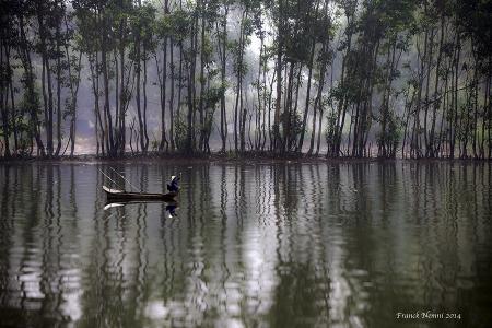 Vietnam, reflet,barque,