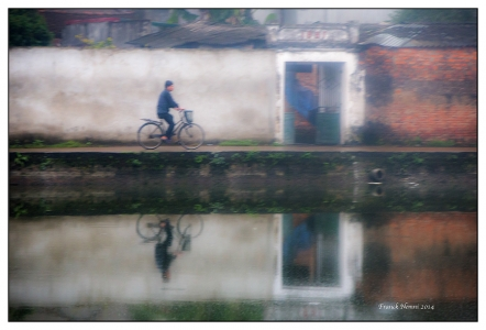 Vietnam, cycliste, brume,reflet
