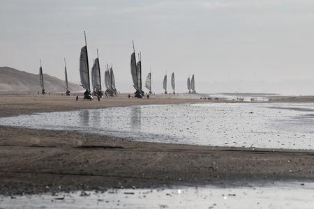 plage, char à voile, mer, sable