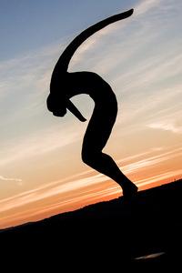saut, ange, statue, coucher de soleil