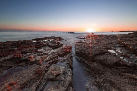 mer, coucher de soleil