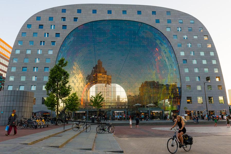 Markthall, Rotterdam, reflets, vélo