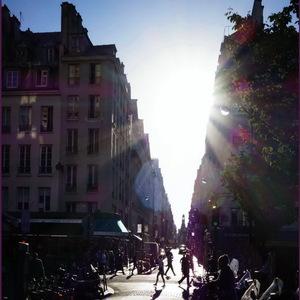 Paris, promenade, petites, mademoiselles, contre-jour, flare