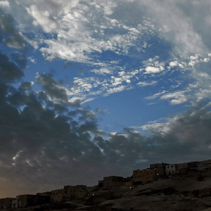 Gabel, Village, ciel, Couchant, soleil, impression