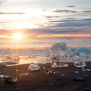 ISLANDE, sunrise, lever de soleil, mer, glaçon, iceberg, pose longue