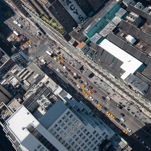 New-york, hauteur, voiture, rue, tour
