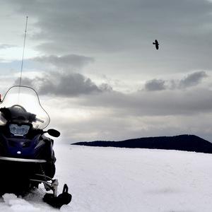 paysage, Montagne, neige, moto