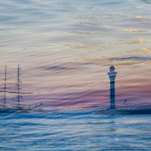 surimpression, bateau, mer
