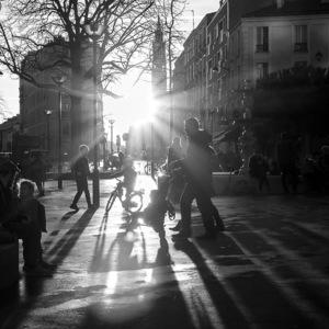 la réunion, coucher de soleil, enfants, photo de rue