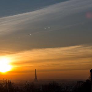 apéro, sunset, coucher de soleil, Paris, Belleville, contre-jour