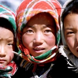 tibet, enfants, portrait