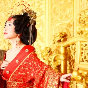 Chine, portrait, rouge, impératrice, costume