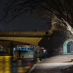 Paris, pont, péniche, lumière, quai de seine