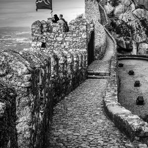 Portugal, Sintra, forteresse, château, Noir et Blanc, pierres