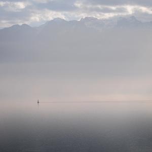 brume, Montagne, bateau