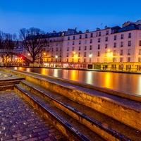 Canaux, pluie, heure bleue, Paris, aube