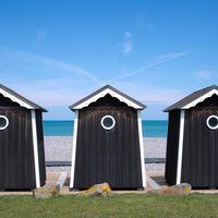 plage, cabine, bleu, mer