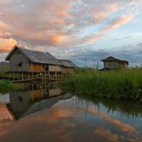 Lac, Inlé, Birmanie, reflets, Village, Flottant, barque