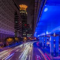 Shanghai, nuit, pose longue , Chine, filés