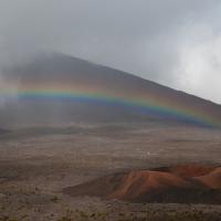 Arc-en-ciel, volcan, la réunion, Piton de la Fournaise, brume