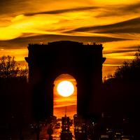 couché de soleil, soleil, lever du jour, sunrise, sunset, Paris, arc de triomphe