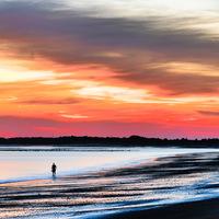 bord de mer, coucher du soleil
