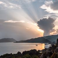bateau, contre-jour, Ciel ; nuages ; coucher du soleil, Turquie